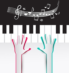 Hands on Piano Keyboard with Notes and Staff vector image