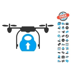 Load Cargo Drone Icon With Free Bonus vector image vector image