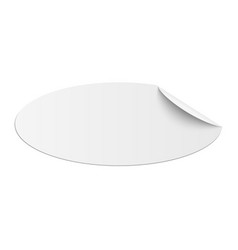 Oblong oval white sticky paper with curled corner vector