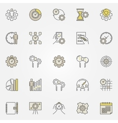 Productivity colorful icons vector image vector image