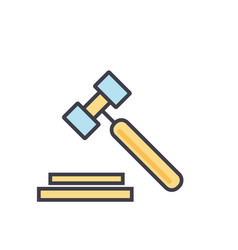 auction hammer justice law legal court vector image vector image