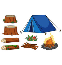 blue tent and campfire on white background vector image vector image