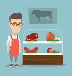 Butcher offering fresh meat in a butchershop vector