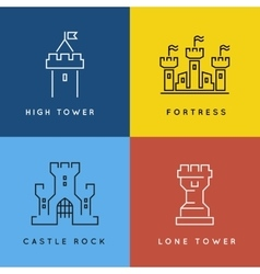 Castle and fortess line style or outlined vector