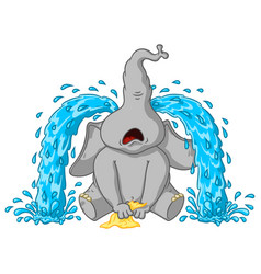 elephant sobs big tears cartoon vector image vector image