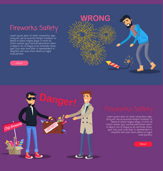 fireworks safety deal danger and wrong usage vector image vector image