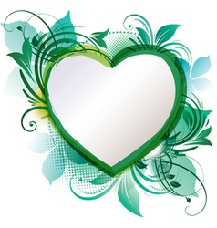 green floral heart background vector image