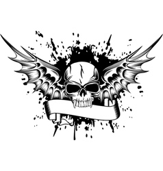 skull with wings 2 vector image vector image