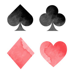 watercolor playing card suits vector image
