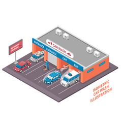 automatic car wash composition vector image