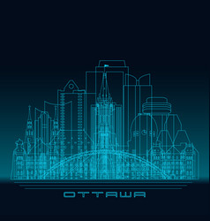 ottawa skyline detailed silhouette vector image