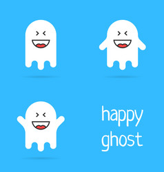 set of white happy ghost emoji vector image