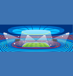 Soccer stadium during sports match football arena vector