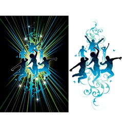 dark and light jumping people vector image
