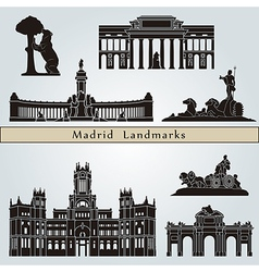 Madrid landmarks and monuments vector image
