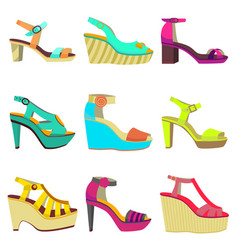 set of women summer shoes vector image