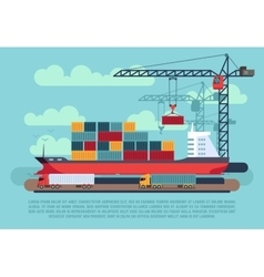 Transport cargo sea ship loading containers by vector image vector image