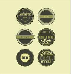 vintage labels black and green set 3 vector image vector image