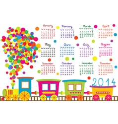 2014 calendar with cartoon trains vector