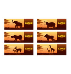 african safari animals silhouette banner vector image