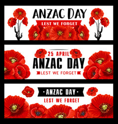 Anzac remembrance day banner with red poppy flower vector