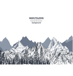 background with hand drawn graphic mountain vector image