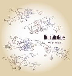 background with retro airplanes vector image