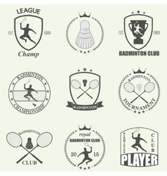 Badminton labels and icons set vector