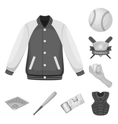 baseball and attributes monochrome icons in set vector image