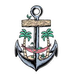 beach skull and old anchor vector image
