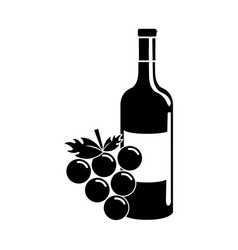 black contour bottle of wine with bunch of grapes vector image vector image