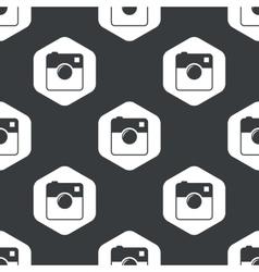 Black hexagon square camera pattern vector