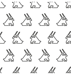 Black line graphic rabbit regular seamless pattern vector