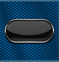 Black oval button on blue perforated background vector