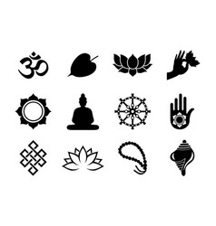Black vesak day icon set on isolated background vector