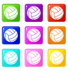 black volleyball ball set 9 vector image