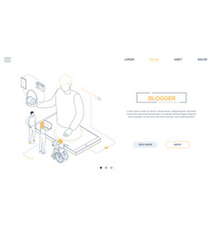 blogging online - line design style isometric web vector image
