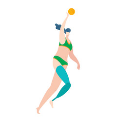 Body positive disabled woman in swimsuits leg vector