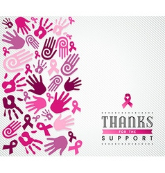 Breast cancer campaign poster pink hand ribbon vector image