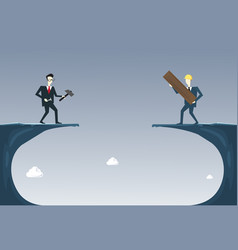 Business people building bridge over cliff gap vector