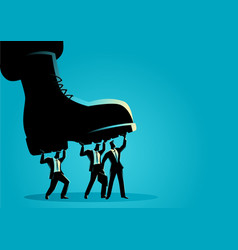 Businessmen trampled army boots vector