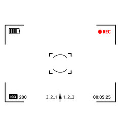 camera viewfinder with digital focus and exposure vector image