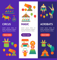 Cartoon circus banner vecrtical set vector