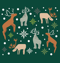 Christmas pattern background with reindeers vector