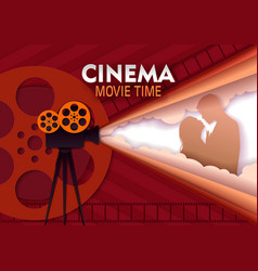 Cinema movie time paper cut poster template vector