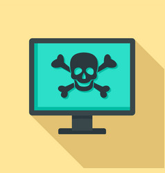 Computer virus attack icon flat style vector