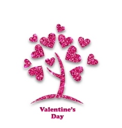 concept tree with shimmering heart leaves vector image