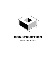 construction logo design with letter o shape icon vector image