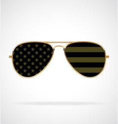 Cool aviator sunglasses with usa flag military vector