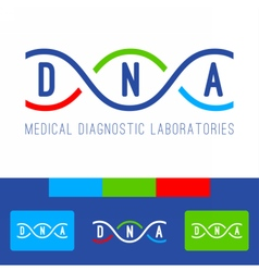 DNA logo white vector image